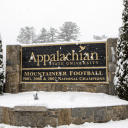 Snow covered App sign